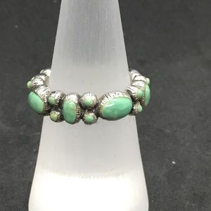Green turquoise and sterling silver ring